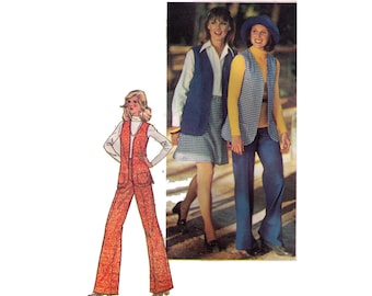 "Simplicity 6570, 70s sewing pattern, size 14 bust 36"" women's lined vest pattern, flared pants, short skirt"