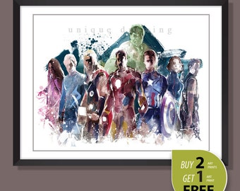 Avengers poster, Avengers print, Marvel comic, Avengers movie poster, Ironman, Captain American, Kids room Decor, Superhero wall art, 3591