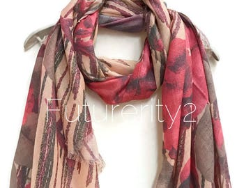 Large Red Flowers Beige Scarf / Spring Summer Scarf /Autumn Winter Scarf / Gifts for Her /Gifts For Mother /Handmade Accessories