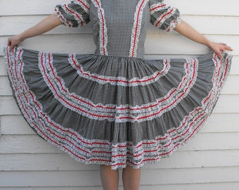Gingham Western Dress Check Print Black White Country Square Dance Rockabilly Vintage S
