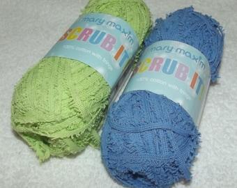 Mary Maxim Scrub It Yarn, Scrubby Cotton Yarn, Cotton Scrubby Yarn, Green Dish Cloth Yarn, 2 Pack Dischcloth Yarn, Blue Scrubby Yarn