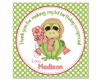 "Frog Customized Girl Birthday Printable Tag- 2.5""- Square Tag-Miss Frog with Bow & Flowers-Personalized Girls Tags-Digital file-YOU PRINT"