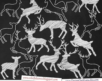 Chalk Deer Silhouettes Clipart, Chalk Deer clipart, Deer Chalk Clip Art, Deer Chalk clipart, Chalk Deer overlays