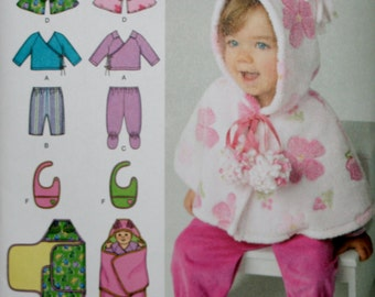 Simplicity 1564 Infant's Top, Pants, Capelet, Bib and Blanket Wrap Sewing Pattern New/Uncut Size XXSmall-Large