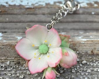 Apple blossom necklace. Spring sakura apple cherry blossom necklace. Natural flower floral necklace jewelry. Wedding bridesmaid gift sakura