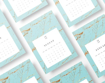 2018 Teal Turquoise Marble Gold Art Calendar DIY Gift Wall Monthly A4 A5 Letter 5x7 Printable Digital Download