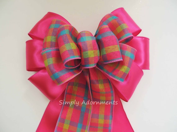 Spring Pink Plaid Wreath Bow Pink Plaid Easter Bow Spring Pink Plaid Wedding Aisle Bow Pink Green Blue Plaid Bow Birthday Party Decor Bow