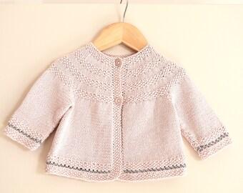KNITTING PATTERN-Baby round yoked sweater with moss stitch trim - P033