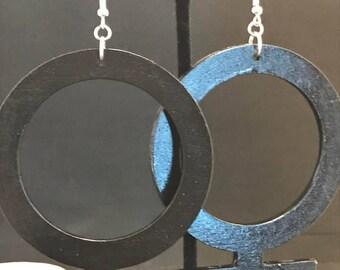 Large Black Venus Symbol Earrings