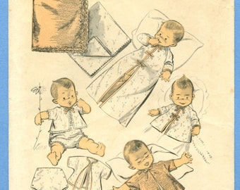 1954 Complete Baby Layette - Sheets, Blanket, Sacque, Robe, Panties   Size One Size - Advance Sewing Pattern 6875