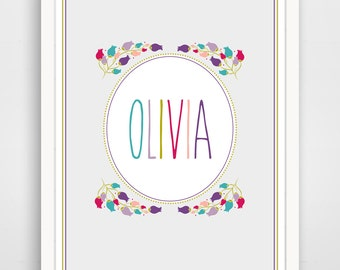 Personalized Children's Wall Art / Nursery Custom Name in Floral Wreath print by Finny and Zook