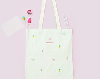 Hello Summer Tote Bag, Embroidery pattern, Eco Friendly Market Bag