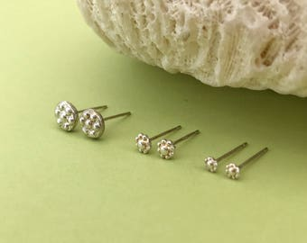 Trio of Sterling Silver Flower Studs, Set of Three Small Floral Earrings, Minimalist, Tiny Studs, Graduated Sizes, Every Day Earrings
