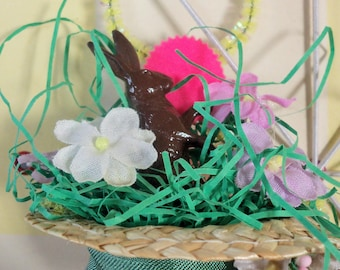 Vintage Inspired / Chocolate Easter Bunny Rabbit in Straw Hat Ornament / Made from Vintage Craft Supplies
