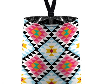 Car Trash Bag // Auto Trash Bag // Car Accessories // Car Litter Bag // Car Garbage Bag - Aztec Tribal Pattern - Pink Black Aqua White bin