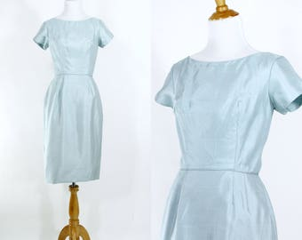 Vintage 1960s Dress | 60s Ice Blue Wiggle Dress | Party Dress | Small S