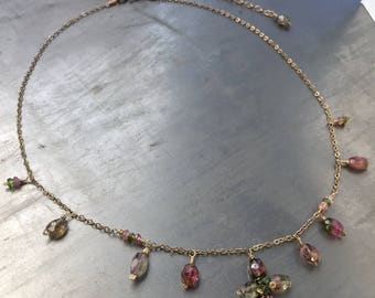 Delicate Watermelon Tourmaline necklace, 14K goldfill necklace