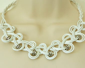 White, Knotted Leather Necklace with Metal Tibetan Style Beads