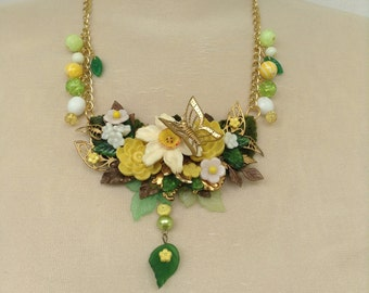 Green and Yellow Floral Assemblage Necklace