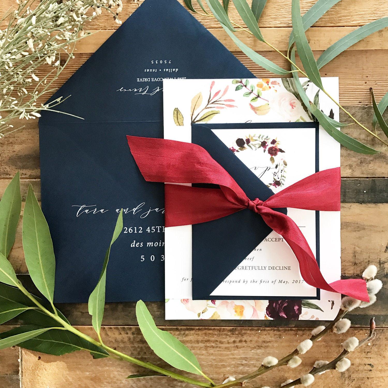 Marsala Floral Watercolor Wreath Wedding Invitation Suite w/