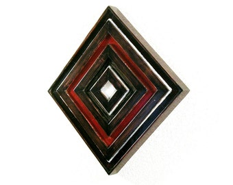 Reclaimed Wood Geometric Wall Sculpture.
