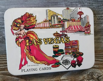 Vintage Set of Two 1987 Las Vegas Playing Card Decks, Still Wrapped in Plastic Flamingo Circus Circus Golden Nugget Riviera