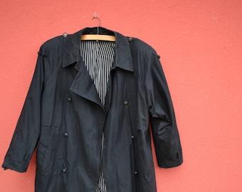 80s Black Trench coat - Black XL Trench coat from Yugoslavia 80s