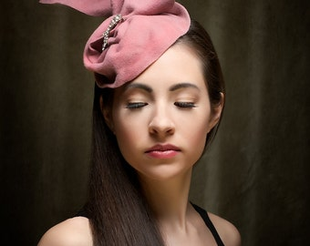 Haute Couture Pink Headpiece Wool Draped Headdress Hat