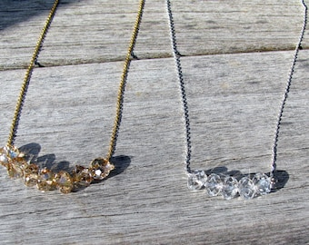 Carrie Necklace, Jr Bridesmaid Gift, Bridal Necklace, Gold Crystal Necklace,  Sterling Silver Crystal Necklace, Swarovski Crystal Bridesmaid