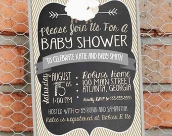 Little Lamb Baby Shower Invitation - Little Lamb Baby Sprinkle - Gender Neutral - Customize - Printable - 5x7 inch - Beige and Gray - Sheep
