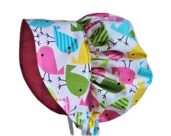 Spring Birds Baby Bonnet, Baby Sun Hat, Baby Sun Bonnet, Baby Girl Bonnet, Newborn Bonnet, Summer Bonnet, Toddler Hat, Garden Bonnet, Cotton