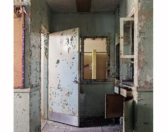 Abandoned Photography, Urban Decay, Architecture Window Doors, Dark Moody Fine Art Print, Nurse's Station, Gray Neutral Pale Blue Mint