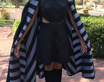 Geoffrey Beene High Fashion Cape/Coat with black & silver geometric design inside black outside