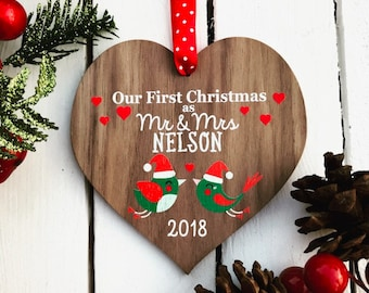 Our first christmas ornament wedding gift married ornament personalised Mr and Mrs wedding ornament newlywed gift just married 11CD