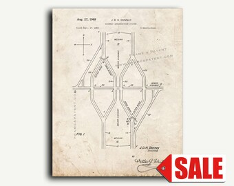 Patent Art - Highway Intersection System Patent Wall Art Print