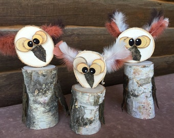 Silly Owl - Small Wooden Owl Home Decor