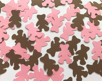 Pink and Brown Teddy Bear Confetti - Girl Baby Shower Decorations - Teddy Bear Decorations - Girl Birthday Party Decorations - Teddy Bears