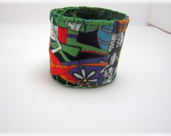 Day of the Dead Happy Skulls Patchwork Fabric Cuff Bracelet