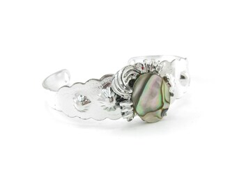 Vintage Southwestern Style Bracelet, Cuff, Abalone, Silver Tone