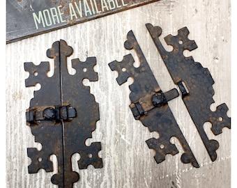 Door Latch AMAZING Vintage HAMMERED Black & Copper Metal PRIMITIVE Latches