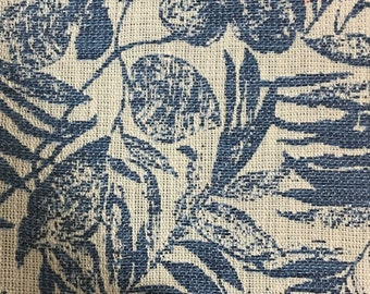 Upholstery Fabric - Oaks - Indigo - Tropical Pattern Woven Texture Home Decor Upholstery & Drapery Fabric by the Yard -Available in 6 Colors