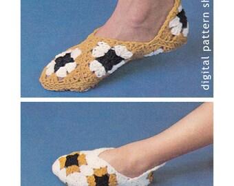 Granny Square Slippers Crochet Pattern Women and Child Crochet Slippers Pattern Instant Download PDF - C35