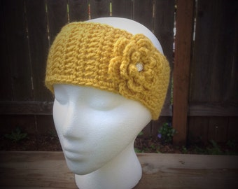 Crochet Headband, Ear Warmer with Flower Clip -- Mustard Yellow