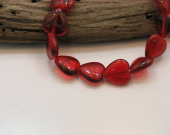 Red Glass Beads, Red Hearts, String of 25(Czech)