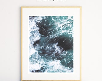 Ocean Waves Print, Ocean Print, Beach Decor, Ocean Water Print, Blue Turquoise Aqua, Coastal Living, Wall Art, Printable Art, Ocean Photo