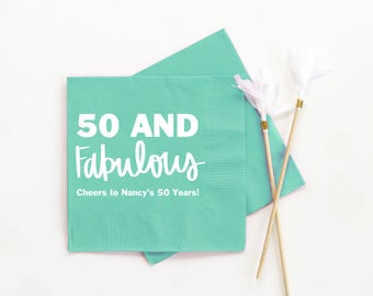 50th Birthday Napkins Personalized Cocktail Napkins 50th Birthday Party Decorations 50 and Fabulous Beverage Napkins Custom Printed Napkins
