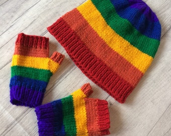 Slouchy Hat and mitt set. Rainbow colours. Size birth-Adult. Pride Set. Unique Gift idea. Rainbow baby photo prop set birth announcement.