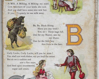Antique Victorian Alphabet and Nursery Rhyme book