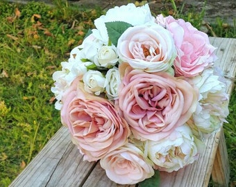 Blush Pink Peony & Rose  Silk Wedding Bouquet featuring artificial Roses, Peonies and Rose Buds