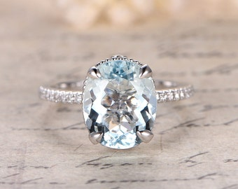 9x11mm Oval Cut Aquamarine Engagement Ring,Filigree Ring,Aquamarine Solitaire Ring,Solid 14k White Gold,Claw Prongs, Big Stone